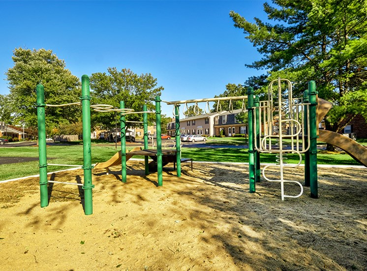 Playground with a slide and children's obstacles and monkey bars.