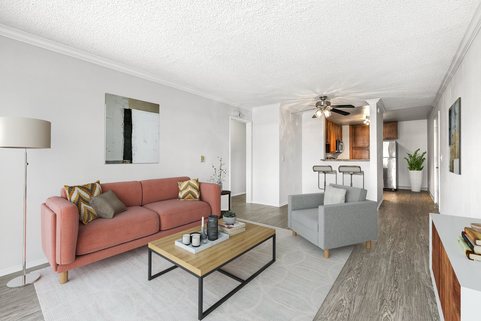 Apartments in Torrance, CA - Modern Living Room With Hardwood Flooring, Air Conditioning and Access to Outdoor Patio