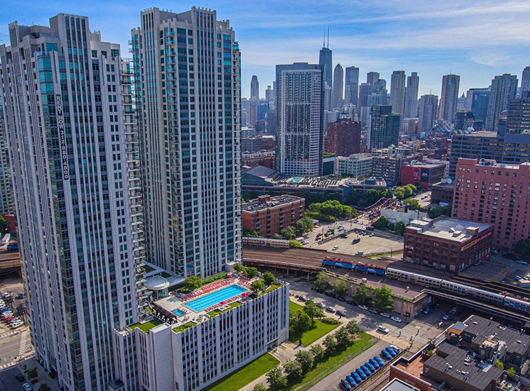Alta at K Station's towers stand proudly among the Chicago skyline