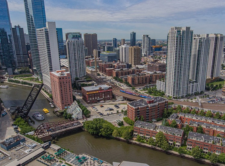 Alta at K Station's towers have a view of the Chicago River