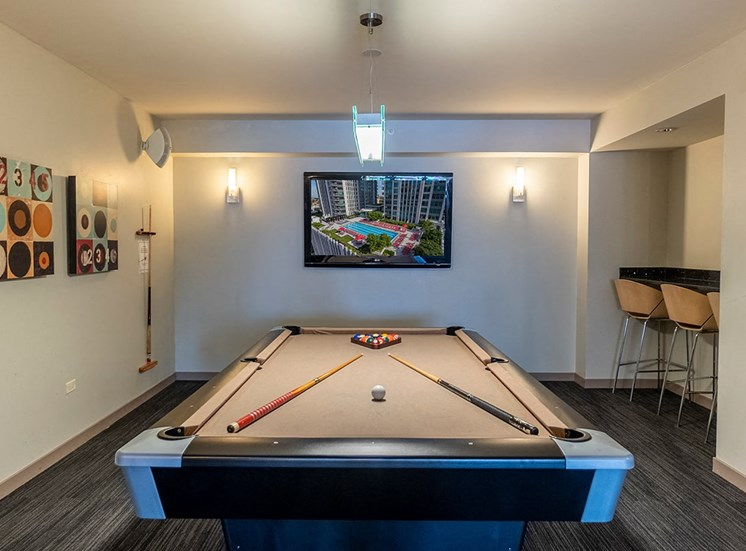 Resident billiards table at Alta at K Station in Chicago