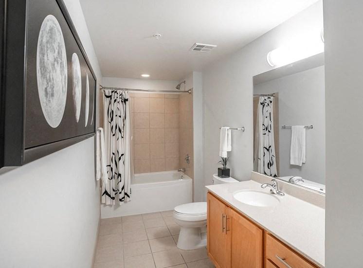 Alta's studio apartment bathrooms are spacious