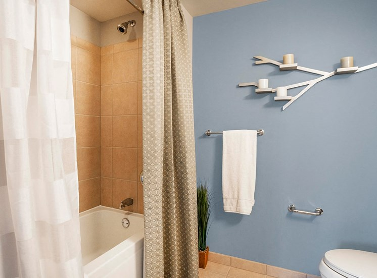 Bathroom with bath tub in Alta at K Station's apartment in Chicago