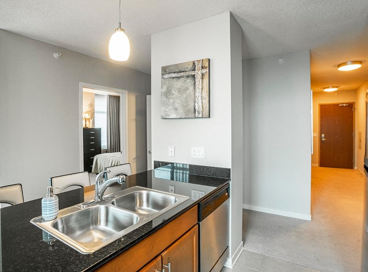 Alta's apartment kitchens feature wood cabinets and granite countertops