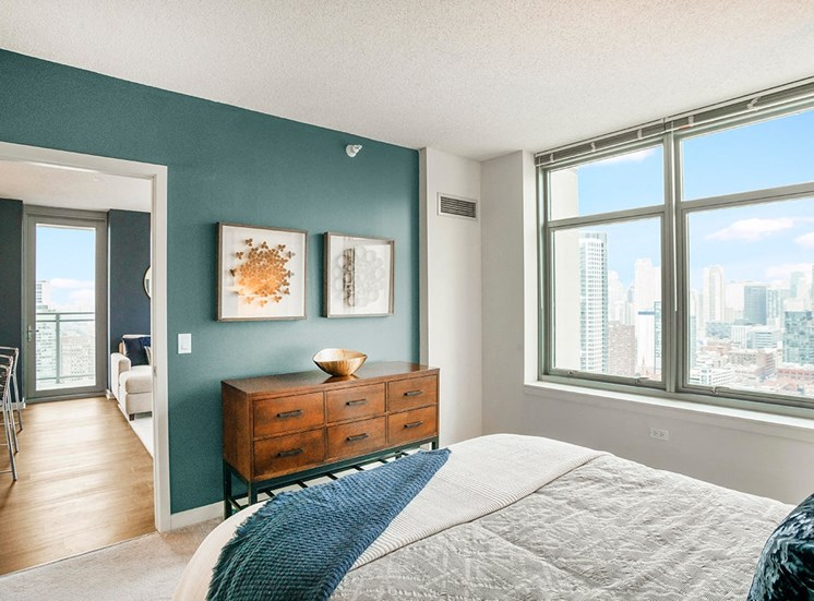 Alta's spacious bedrooms feature accent walls and large windows