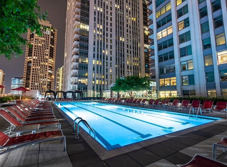 Alta's lighted lap pool is a great place for an evening swim
