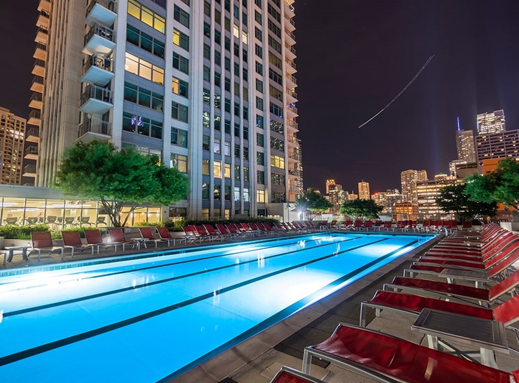 Alta's rooftop terrace pool at night