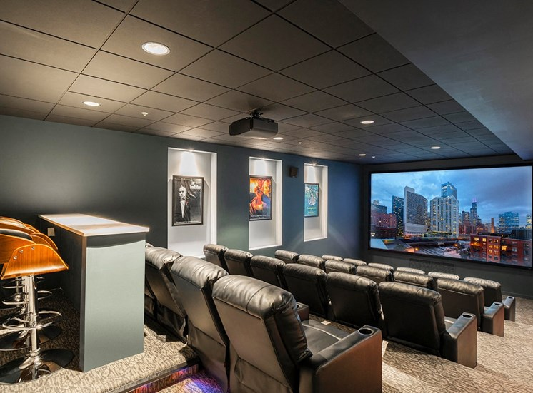 Alta's private movie theater features reclining leather seats