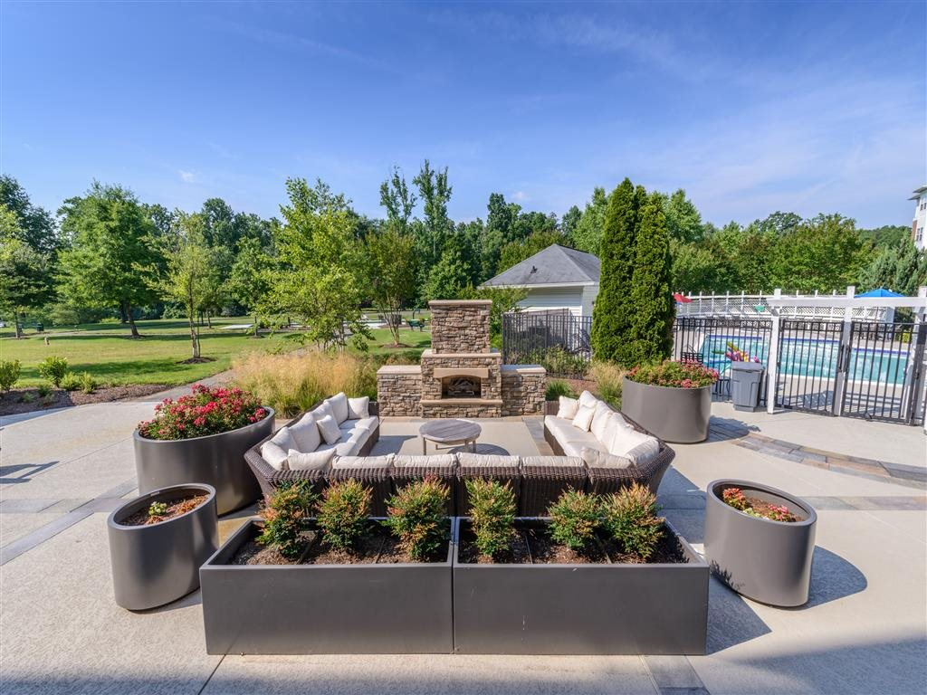 Relaxing Patio Area with Custom Fireplace