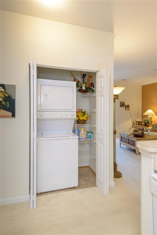 Full-Size Stackable Washer And Dryer In Home