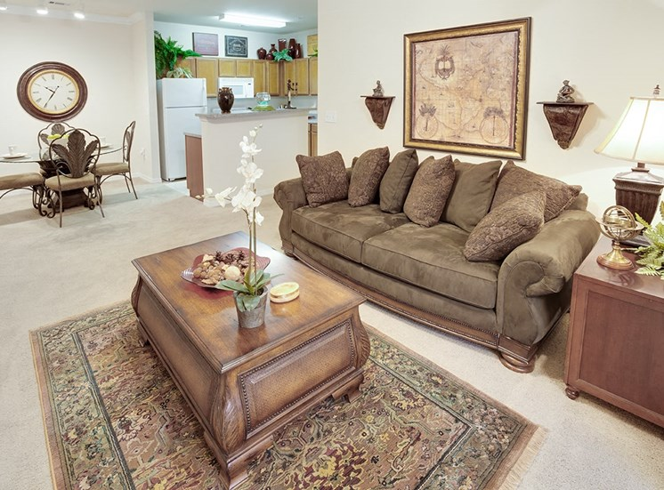 Governors Gate apartment model suite living area in Pensacola, Florida