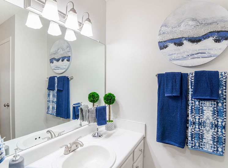 Woodcliff model suite bathroom in Pensacola, Florida