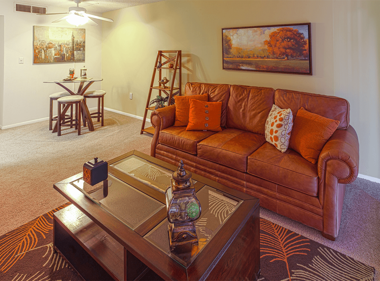 Jamestown Estates model suite living area in Pensacola, Florida