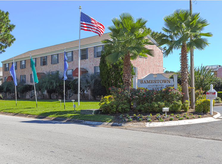 Jamestown Estates apartment community entrance in Pensacola, Florida