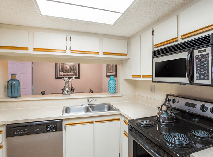 Village Crossing apartment model suite kitchen in West Palm Beach, Florida