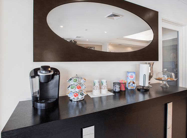 Village Crossing apartments complimentary coffee in West Palm Beach, Florida