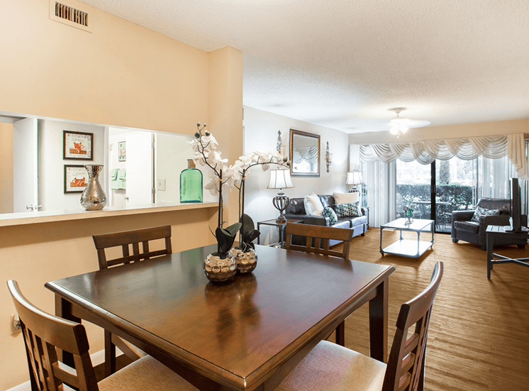 Village Crossing apartment model suite dining area in West Palm Beach, Florida