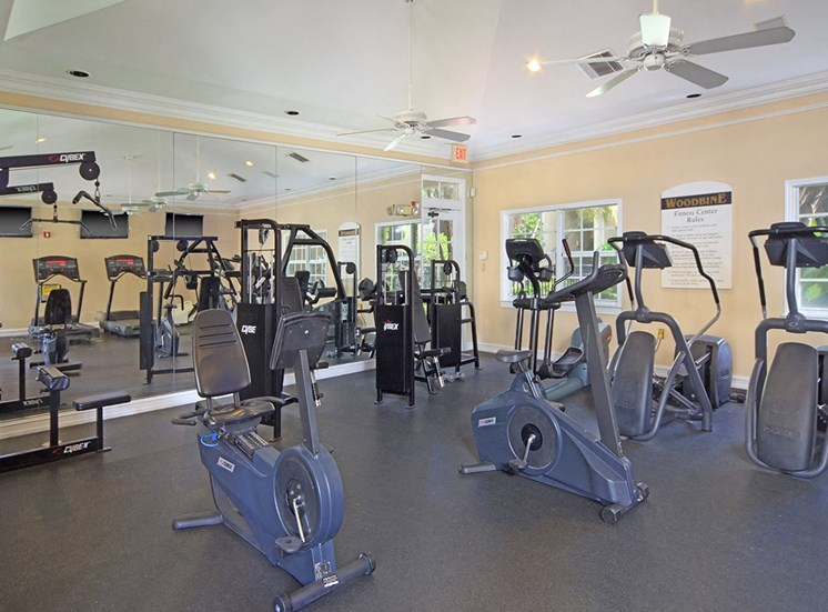 Woodbine apartments fitness center in Riviera Beach, Florida