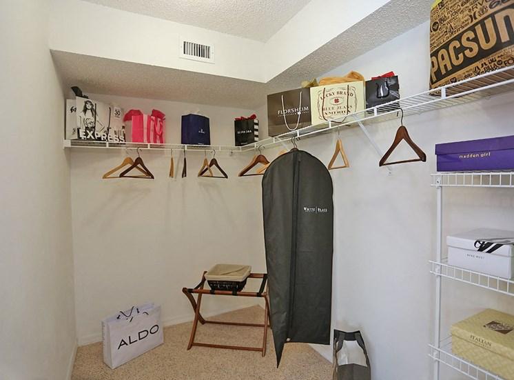 Woodbine apartment model suite closet in Riviera Beach, Florida