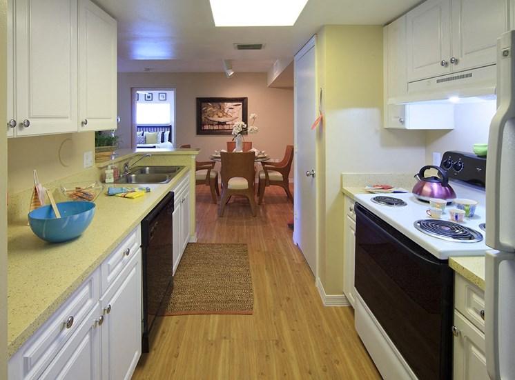 Woodbine apartment model suite kitchen in Riviera Beach, Florida
