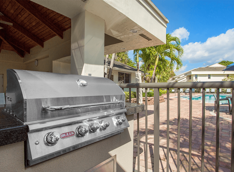 Blue Isle apartments poolside BBQ grill in Coconut Creek, Florida