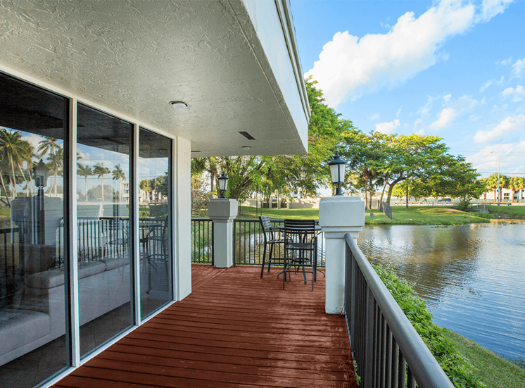 Blue Isle apartments cyber café balcony in Coconut Creek, Florida