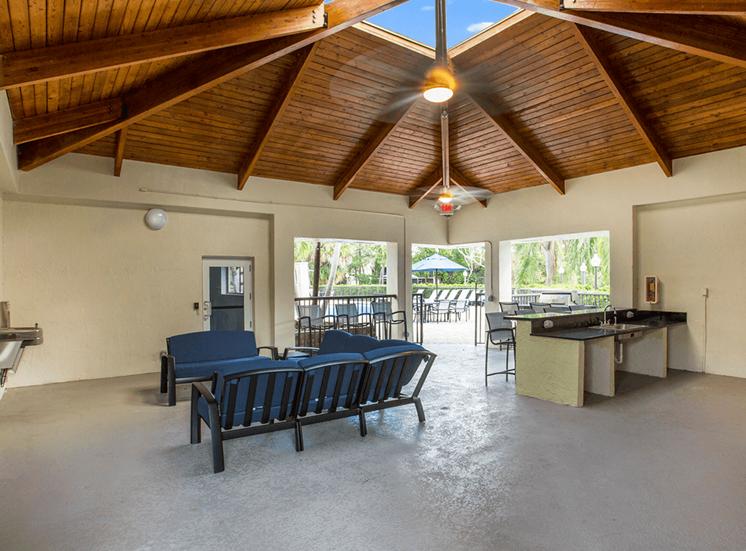 Blue Isle apartments poolside pavilion in Coconut Creek, Florida