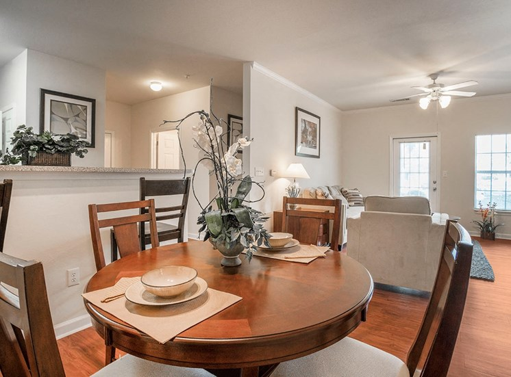 Greenbrier Estates model suite dining area in Slidell, Louisiana