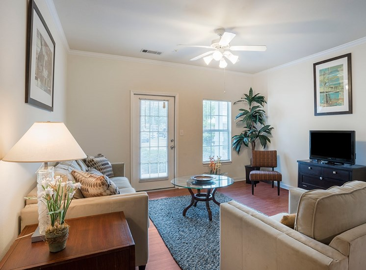 Greenbrier Estates model suite living area in Slidell, Louisiana