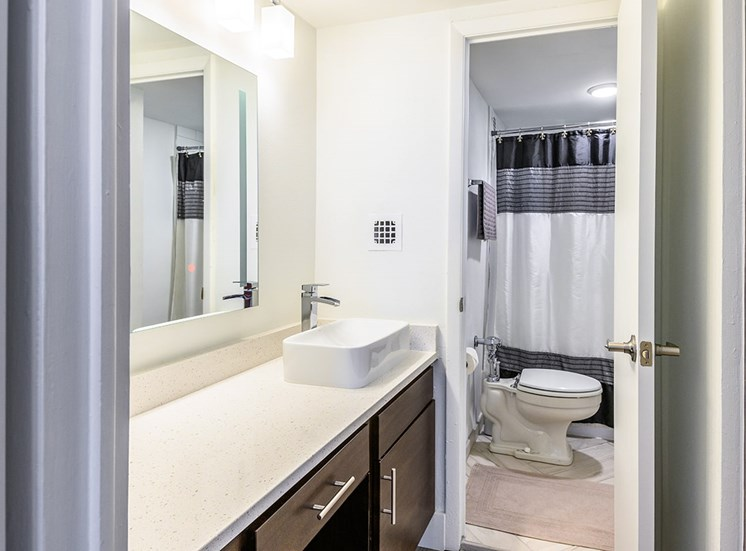 The Georgian's apartment bathrooms are modern and bright