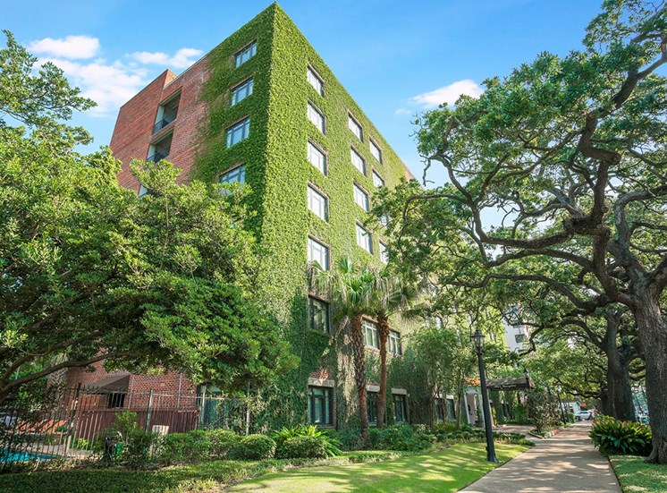 The Georgian apartment building in New Orleans is covered in emerald ivy