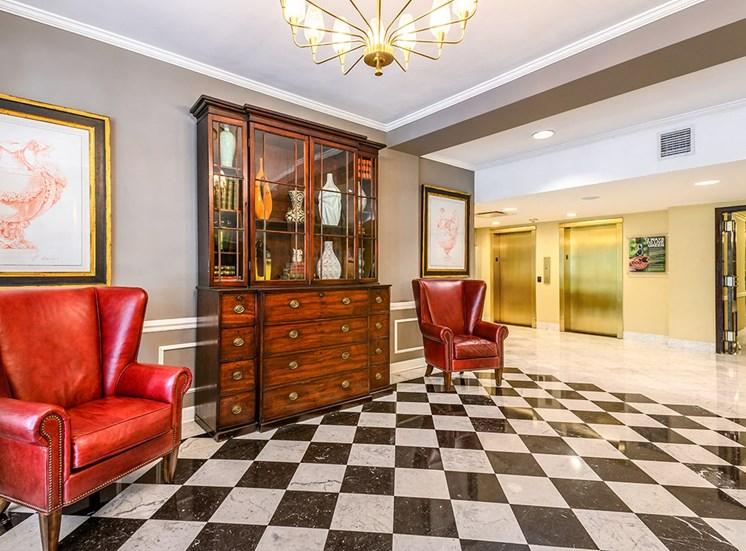 The Georgian lobby and elevators