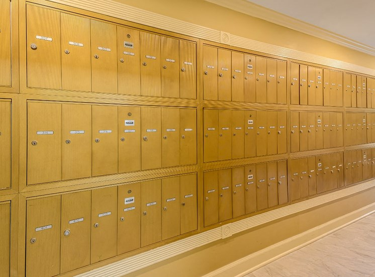 The Georgian's resident mail boxes on St. Charles Ave.