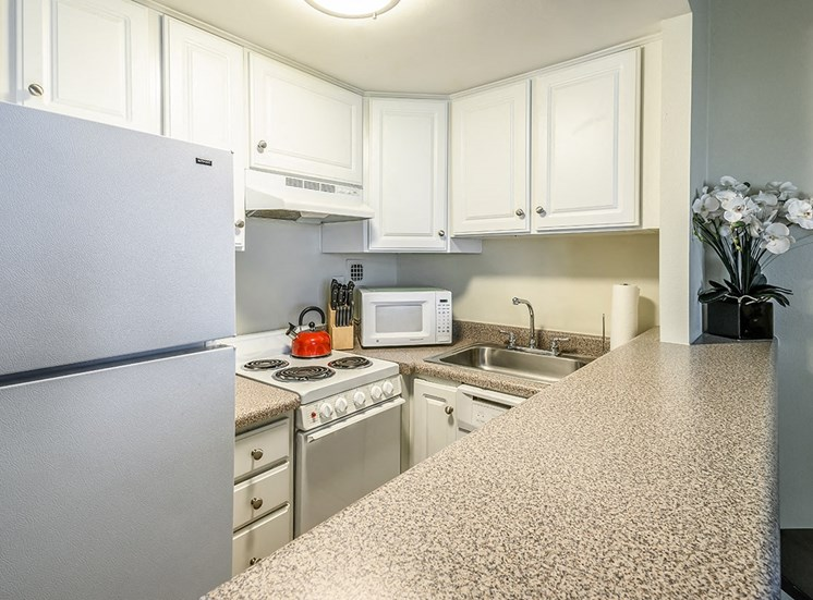 Studio apartment kitchen at The Georgian in New Orleans