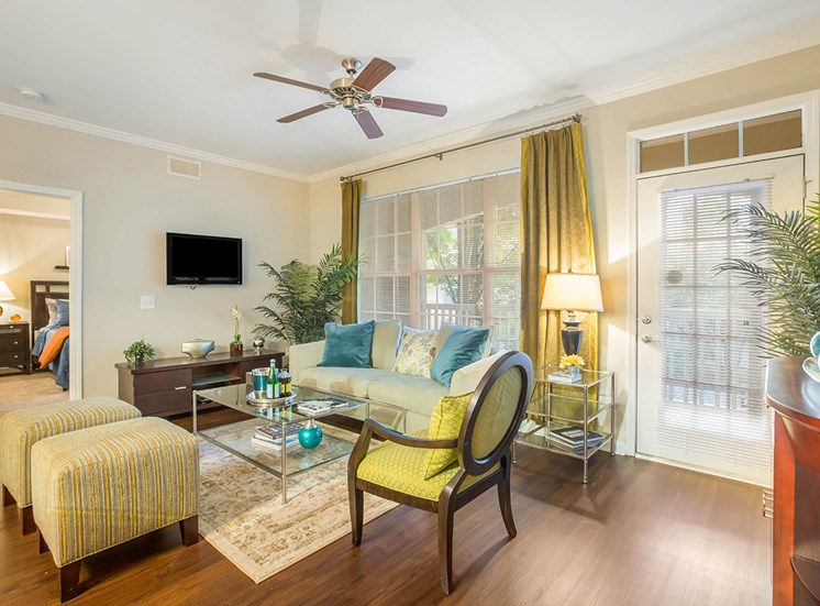 The Savoy apartments are spacious and feature wood-style plank flooring