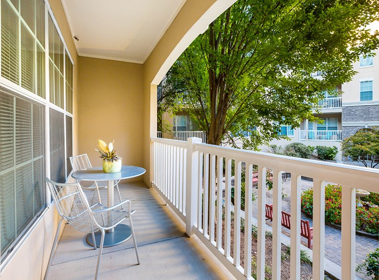 The Savoy's apartments feature private balconies overlooking the community