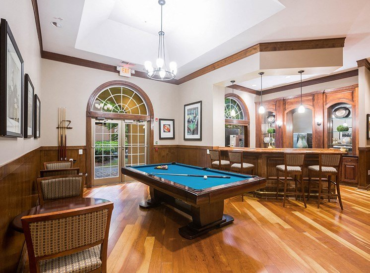 Clubhouse with billiards and kitchen at The Savoy Apartments in Atlanta