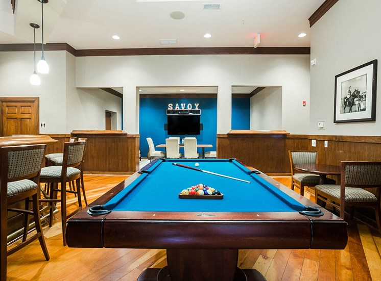 Blue pool table in The Savoy's resident club house