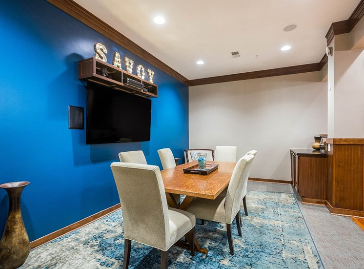 Conference table in The Savoy Apartments club house