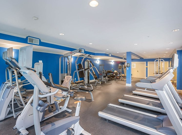 Fully equipped fitness center at The Savoy in Atlanta