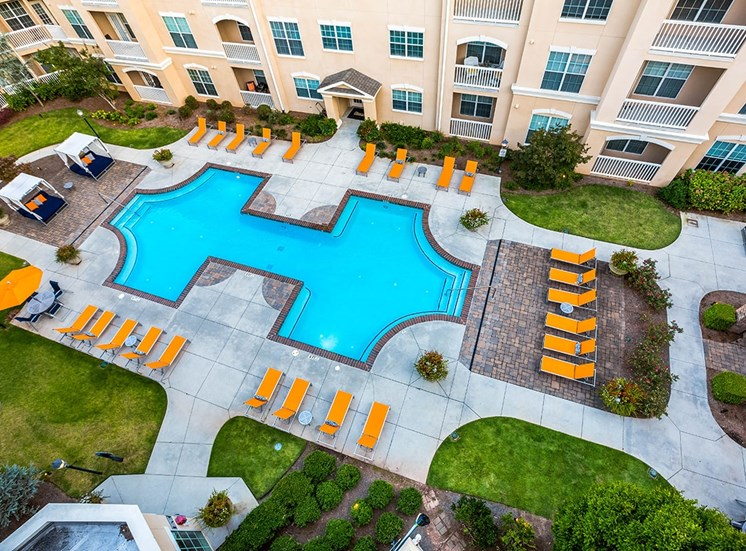 The Savoy's apartment buildings surround the large saltwater pool