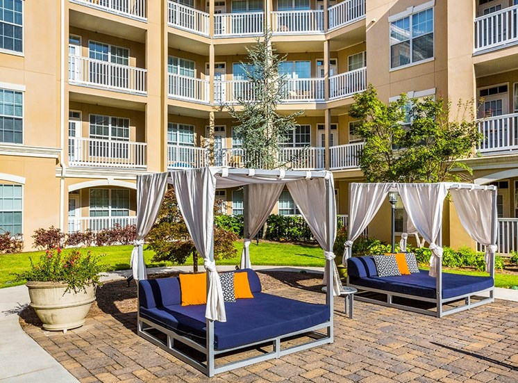Cabanas flank the saltwater pool at The Savoy in Atlanta