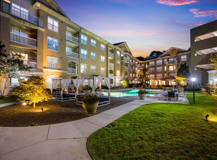 The Savoy's pool area at twilight