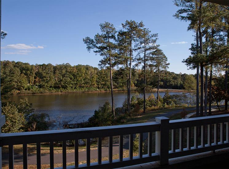 The Lodge at Crossroads apartment balcony lake view in Cary, North Carolina