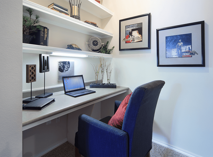 The Lodge at Crossroads model suite office nook in Cary, North Carolina