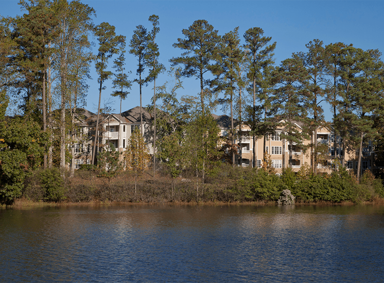 The Lodge at Crossroads apartments with lakefront views in Cary, North Carolina