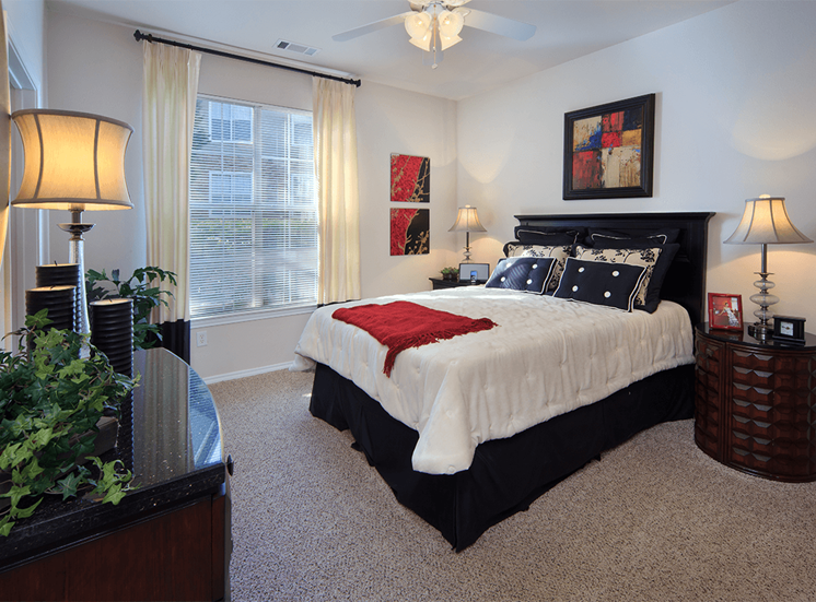 The Lodge at Crossroads model suite bedroom in Cary, North Carolina