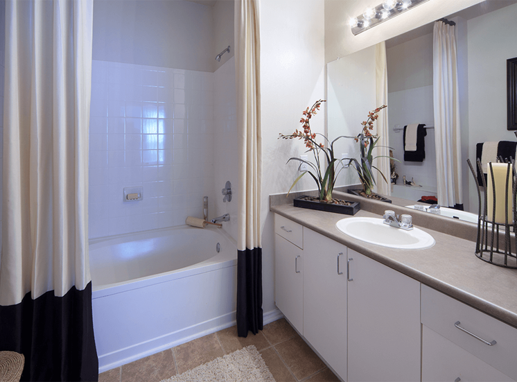The Lodge at Crossroads model suite bathroom in Cary, North Carolina