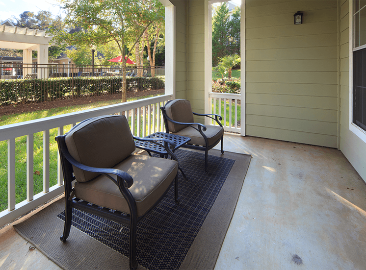 The Lodge at Crossroads model suite patio in Cary, North Carolina