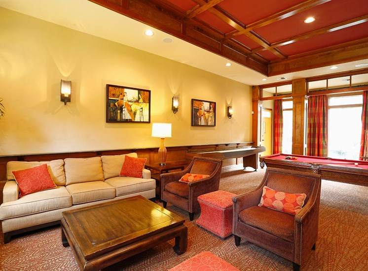 The Lodge at Crossroads apartments clubhouse in Cary, North Carolina